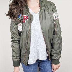 Iris | Army Green Patchwork Bomber Jacket Large